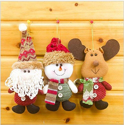 Merry Christmas Santa Doll Pendants Christmas Tree Decoration Hanging Ornaments Crafts for Home Decor (Santa+Elk+Snowman)