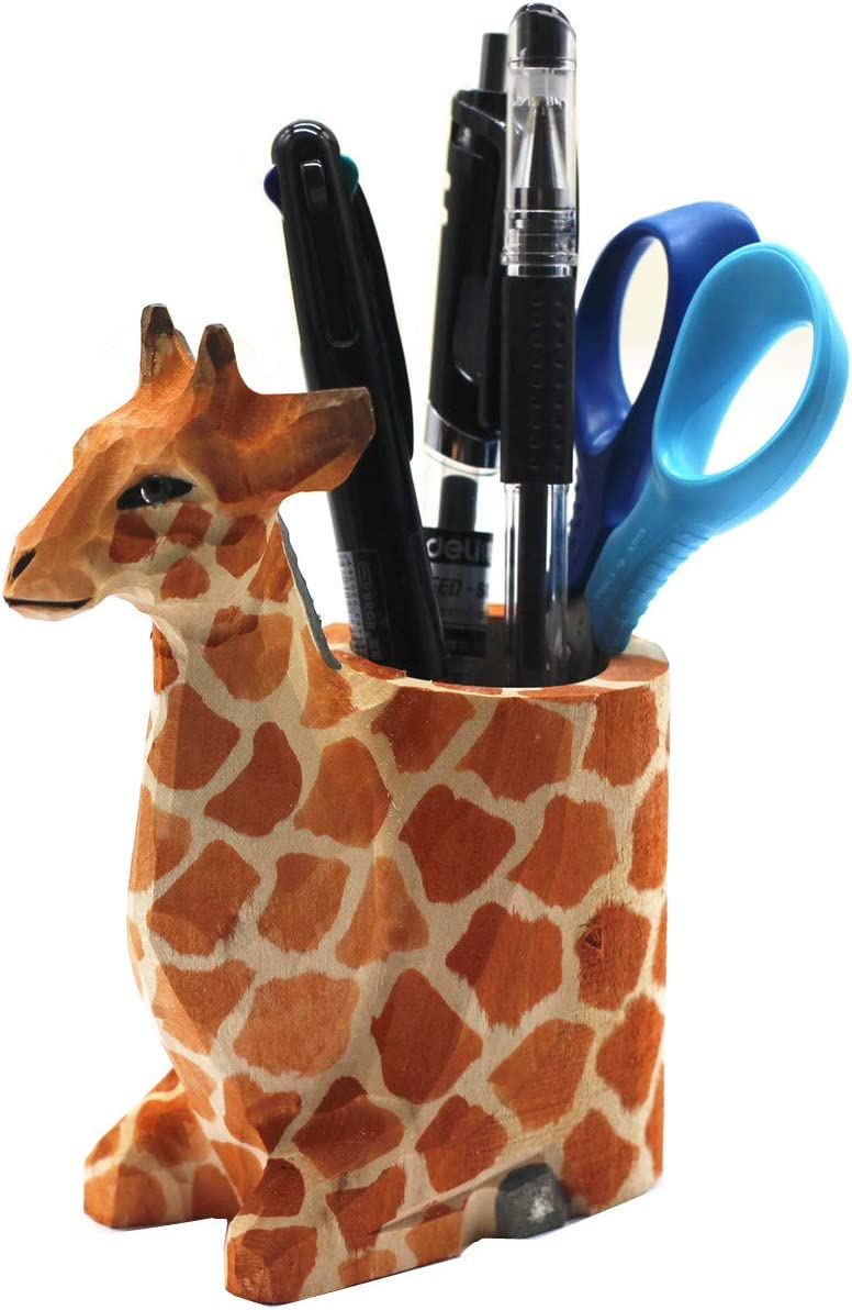 TANG SONG Creative Wood Carving Giraffe Handicrafts Pen and Pencil Holder Office Desk Supplies Organizer Pencil Cup