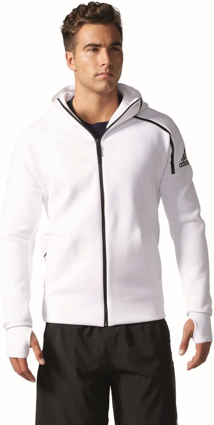 adidas ZNE Hoody Sweatshirt pour Homme, Blanc L, Taille