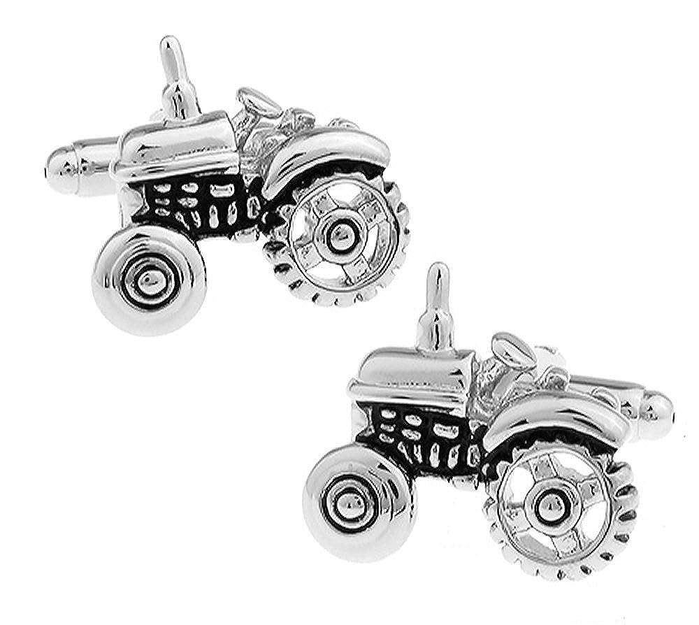 Massives Messing Rhodium /überzogenes Ein Paar Traktor Manschettenkn/öpfe MIT PR/ÄSENTATIONS GESCHENKKASTEN