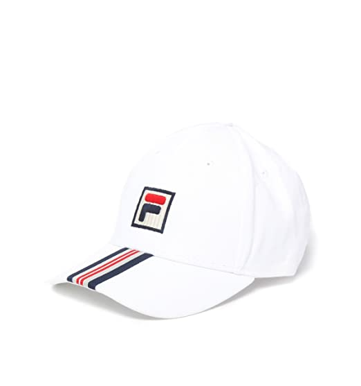 046b68c29283e6 Image Unavailable. Image not available for. Colour: Fila Vintage Walker  Strapback Baseball Curved Visor Cap Hat White