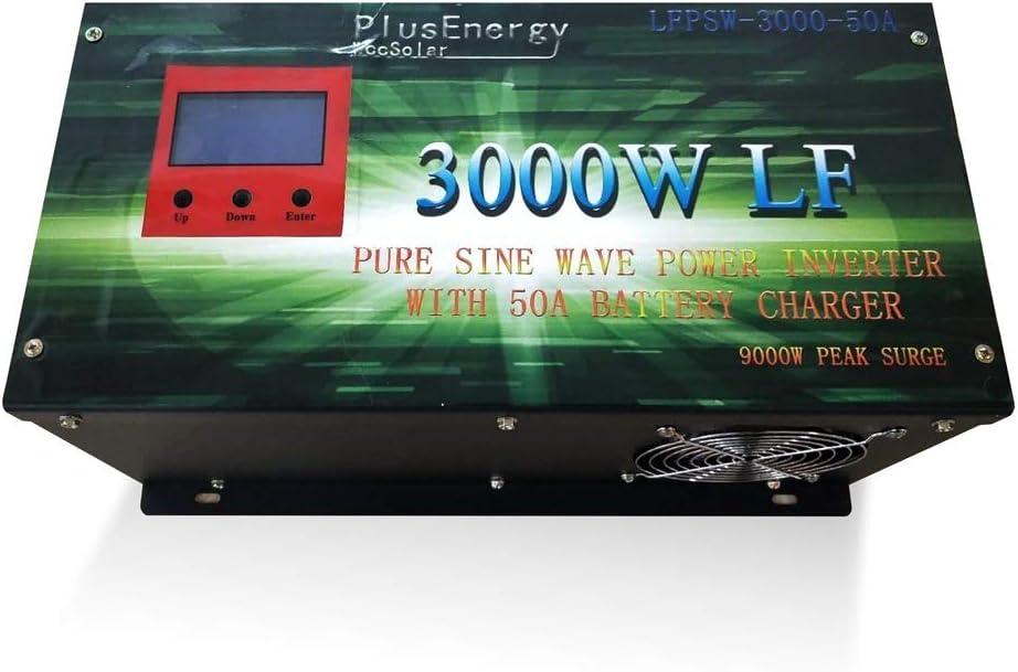 wccsolar Inverter 3000w Inversor Onda Pura Convertidor 24v to AC 220V+LCD+Cargador 50Amp
