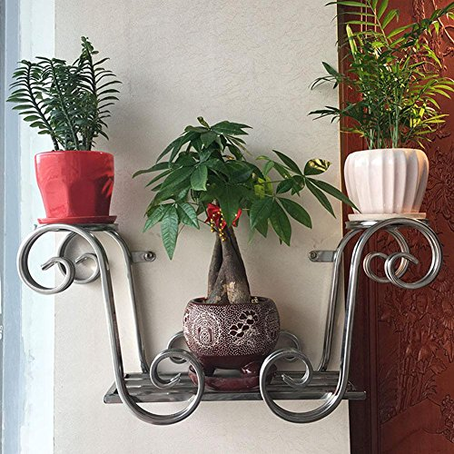 KSUNGB Flower Stand Wall Hanging Creative European Storage Living Room/ Bedroom/ Balcony / Hotel / Cafe Flower Pot Rack Bonsai Frame Hanging Stainless Steel True Color 58 26 17cm by KSUNGB