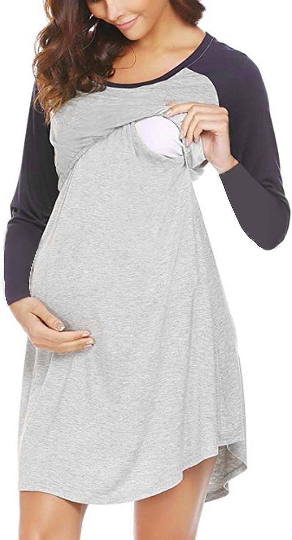 Stillen weiche Nachtw/äsche 3-in-1 Nachthemd f/ür Labor Kontrastfarbe Sunnyme Schlafanzug f/ür Damen