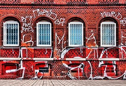 Amazon Com Yeele Graffiti 5x3ft 1 5 X 1m Red Bricks Wall White