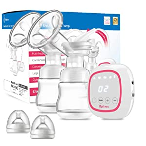 Double Electric Breast Pump, Protable Dual Breastfeeding Milk Pump with Touch Screen, Adjustable Mode and Pumping Suction Levels Backflow Protector BPA Free