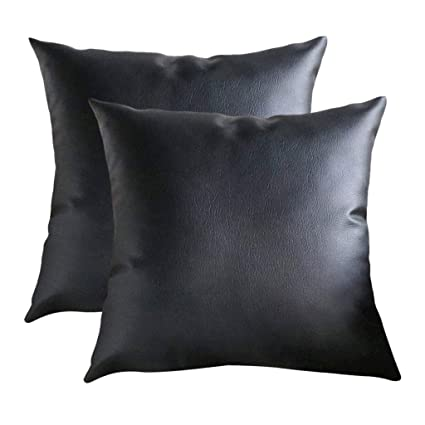 Incredible Amazon Com Transser 2 Pack Thick Faux Leather Pillow Cover Pabps2019 Chair Design Images Pabps2019Com