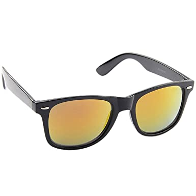 d7cdd68432 Dervin Yellow Lens Black Frame Wayfarer Sunglasses for Men and Women  Amazon .in  Clothing   Accessories