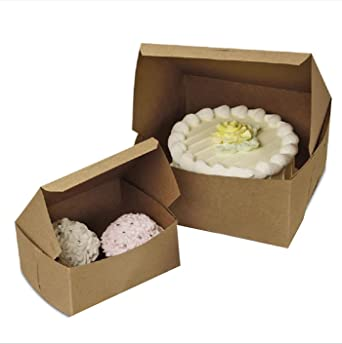 Amazon.com: APQ 1250 Pack Cajas Natural Kraft para pasteles ...