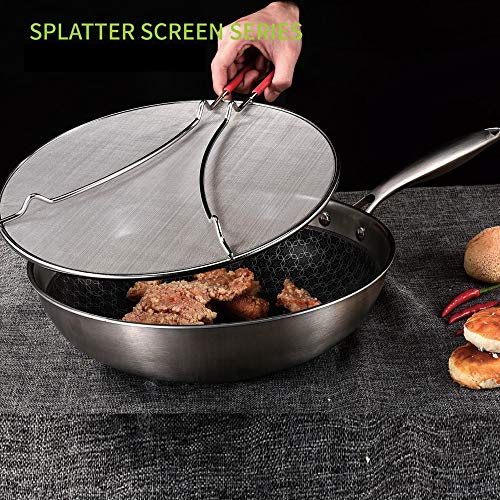 "K BASIX Splatter Screen for Cooking 13"" - Silicone Handle - Stops Hot Oil Splash - Protects Skin from Burns - Grease Guard for Frying Pan Keeps Your Kitchen Clean - Heavy Duty Ultra Fine Mesh"