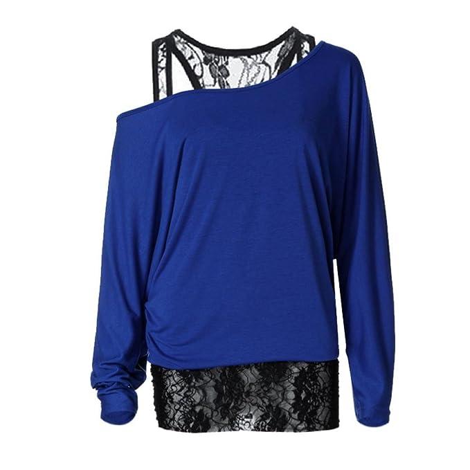 Siswong Blusas con Encaje Mujer Algodon Hombros Descubiertos Elegantes Sexys Blusas Formula Joven Holgadas Tallas Grandes