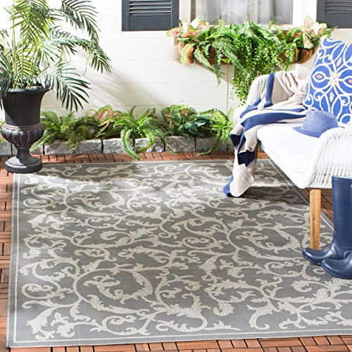 Safavieh Courtyard Collection CY6533-87 Anthracite and Light Grey Indoor/ Outdoor Area Rug (6'7