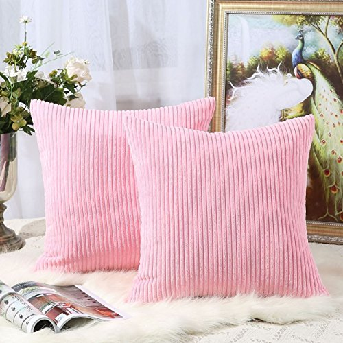 Pack of 2 Decorative Throw Pillow Covers Cases for Couch Bed Sofa,Striped Corduroy Velvet Cushion Covers for Baby, 26 X 26 Inches,Pink (Sham Pink Euro Stripes)