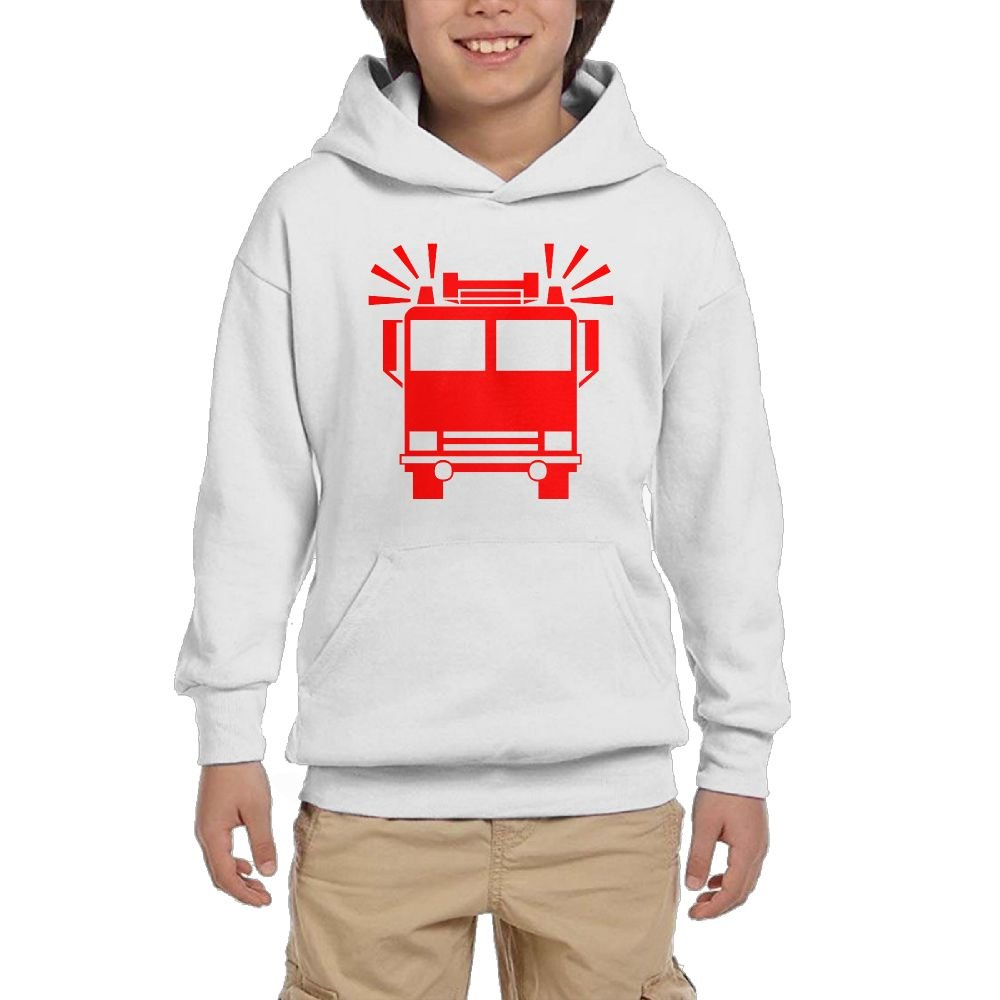 Artphoto Youth's Funny Firetruck Hoodies Sweatshirt Suitable for 10 to 15 Years Old  XL White by Artphoto