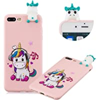 Cute Painted Cartoon Case for iPhone 7 Plus,Soft Silicone Case for iPhone 8 Plus,Moiky Funny 3D Music Unicorn Cartoon Animals Pattern Design Ultra Thin TPU Rubber Shockproof Protective Case