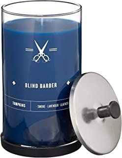 product image for Blind Barber Tompkins Scented Candle - Long Lasting Soy Wax Candle in Barber Style Glass Jar with Notes of Leather, Smoke & Lavender - 100 Hour Burn Time (23.6oz)