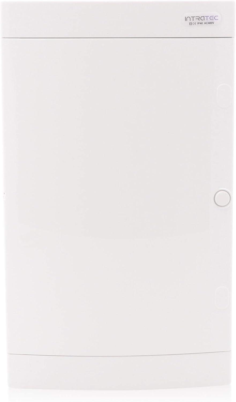 Caja de fusibles visto IP40 prueba de distribuci/ón de la carcasa de 3-filas 36 m/ódulos de puerta blanca
