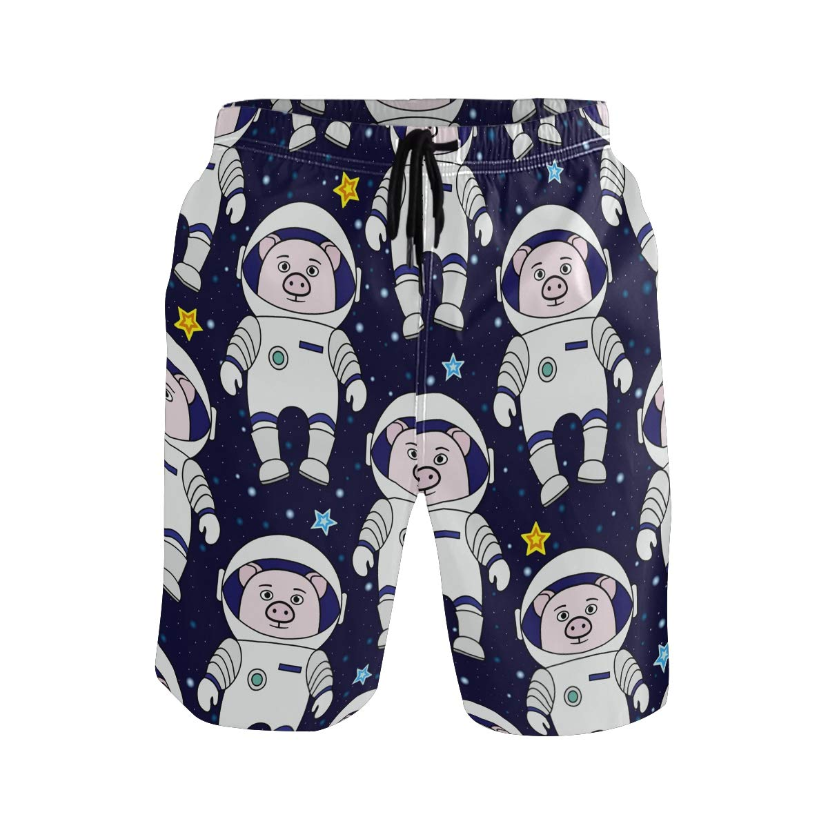 Mens Swim Trunks Pink Pig Astronaut Space Star Night Beach Board Shorts
