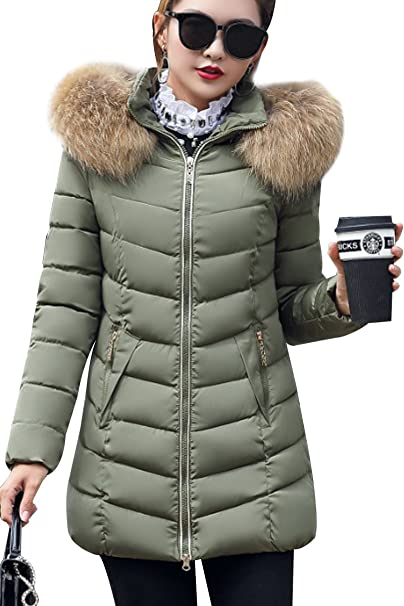 28a8f10c4 Liouliu Women's Winter Down Coat Parka Faux Fur Collar Hooded Coat Quilted  Jacket