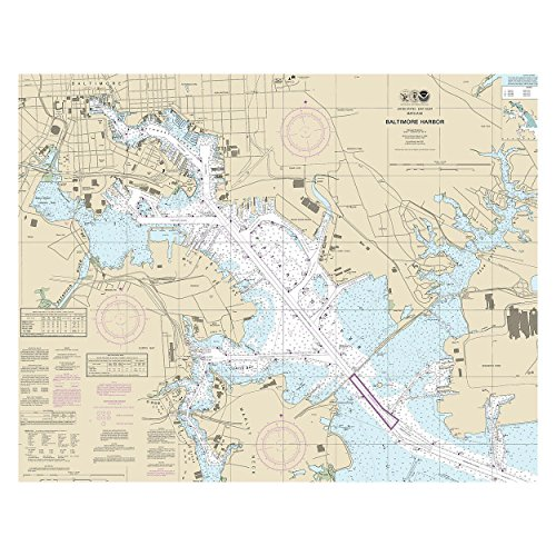 Baltimore Harbor Chesapeake Bay Nautical Chart Unframed Vinyl Art Print - Perfect for indoors / outdoors. (Harbor Bay Vinyl)