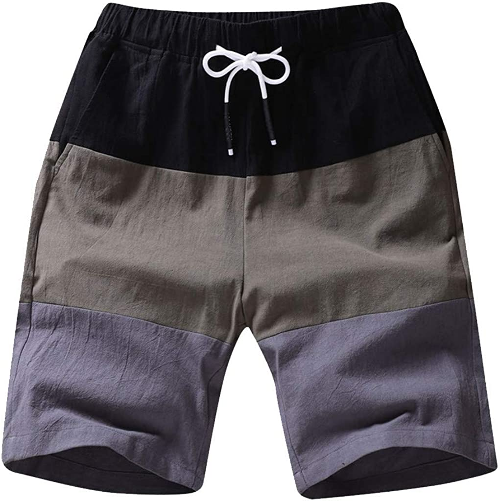 STORTO Mens Summer Striped Shorts Casual Fashion Printed Sports Workout Pockets Bind Waist Shorts