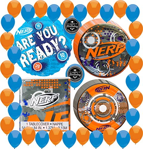 Price comparison product image Nerf Party Supplies Decorations Birthday Pack Balloons, Table Cover, Plates Bundle