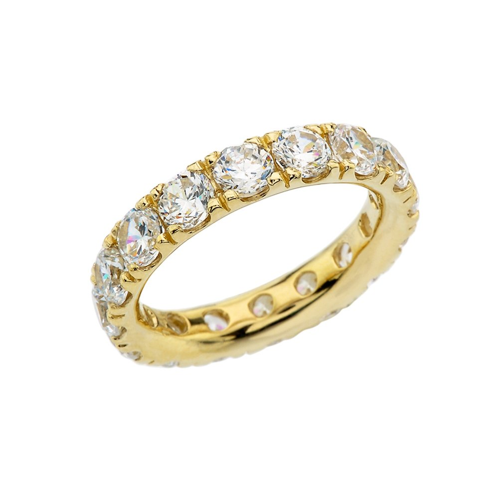 14k Yellow Gold 4mm Comfort Fit Eternity Band With White Topaz (Size 7.25)
