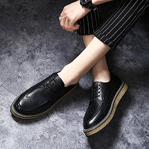 Fashion UK7 CN42 8 Men's 41 5 Color Leisure Leather Shoes EU Feifei Black Size Shoes Retro 7wqwB1Zt