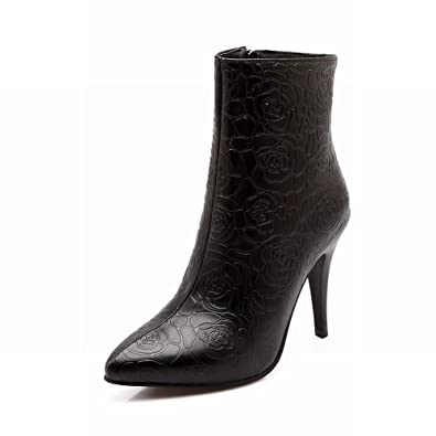 Women's Fashion (Size 4.5-14) Floral Side Zipper Pointed-toe Stiletto High Heel Short Dress Boots