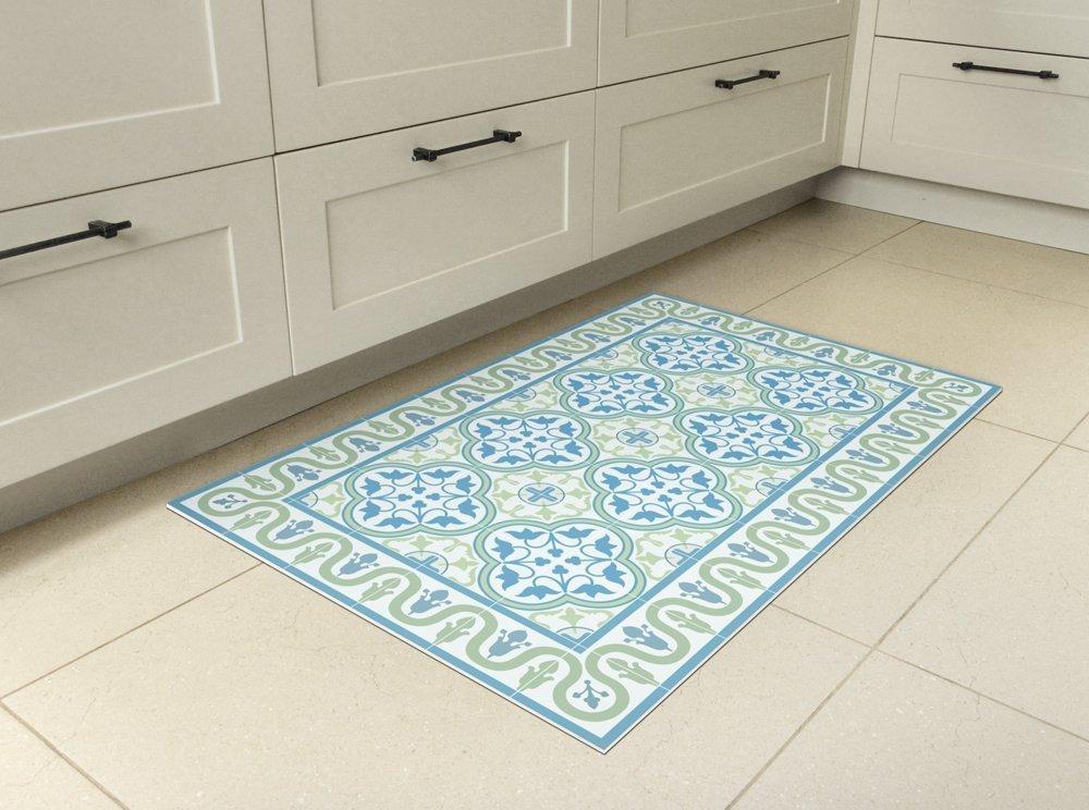 Vinyl mat, with tiles in green and turquoise. linoleum area rug, PVC floor mat.