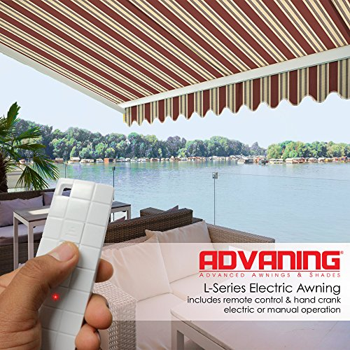 ADVANING Electric Luxury L Series, 12'x10', Semi-Cassette Top Quality Window/Door Cloth Cover Canopy Sun Shade Retractable Patio Awning, Brick Red with Sand Beige Stripes, Model: EA1210-A430H2 (Sand And Brick Patio)
