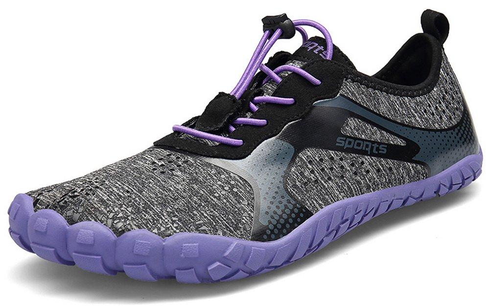 JOOMRA Men Women Wide Quick Dry Barefoot Hiking Water Shoes B07F1KLHDW 8.5 US Women's / 7 US Men's|Purple