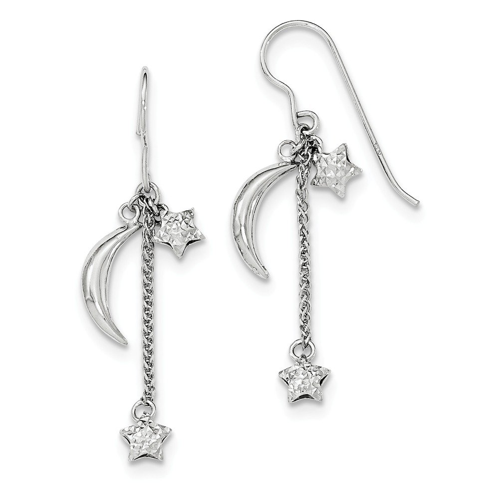 Sterling Silver Puff Stars and Moons Earrings and a pair of 4mm CZ Stud Earrings