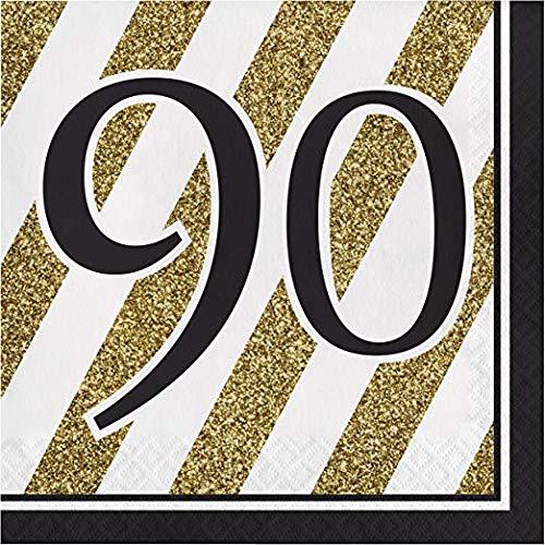 90th Birthday Napkins - Creative Converting Black and Gold 90th
