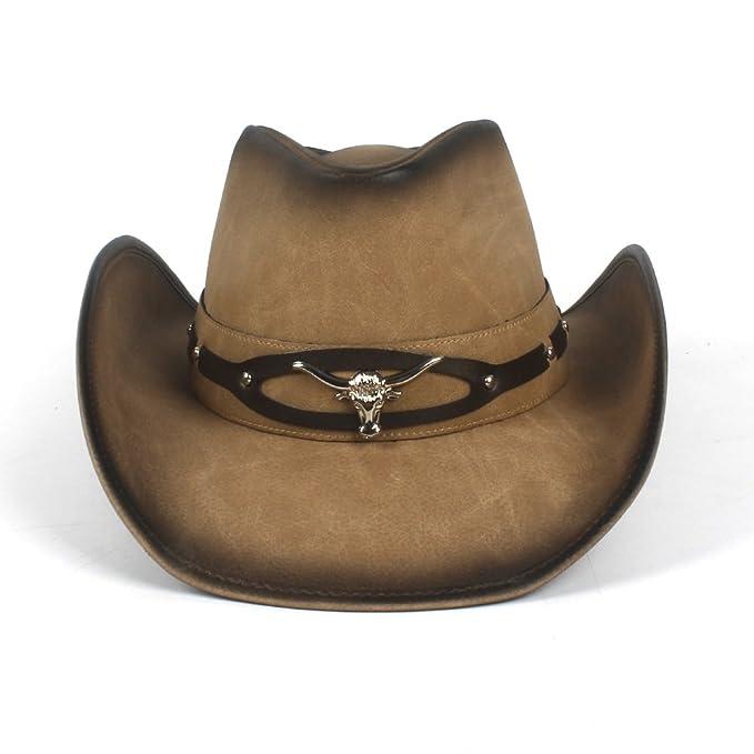 Baianf Cappello da Cowboy in Pelle 2018 per Uomo 114f3cb0f112