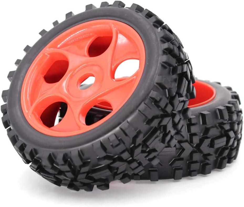 Junlinto, 2Pcs / Set Goma 118mm 1/8 RC Neumáticos y Ruedas de Coche Juego de Llantas 1: 8 Off Roader Tire Orange