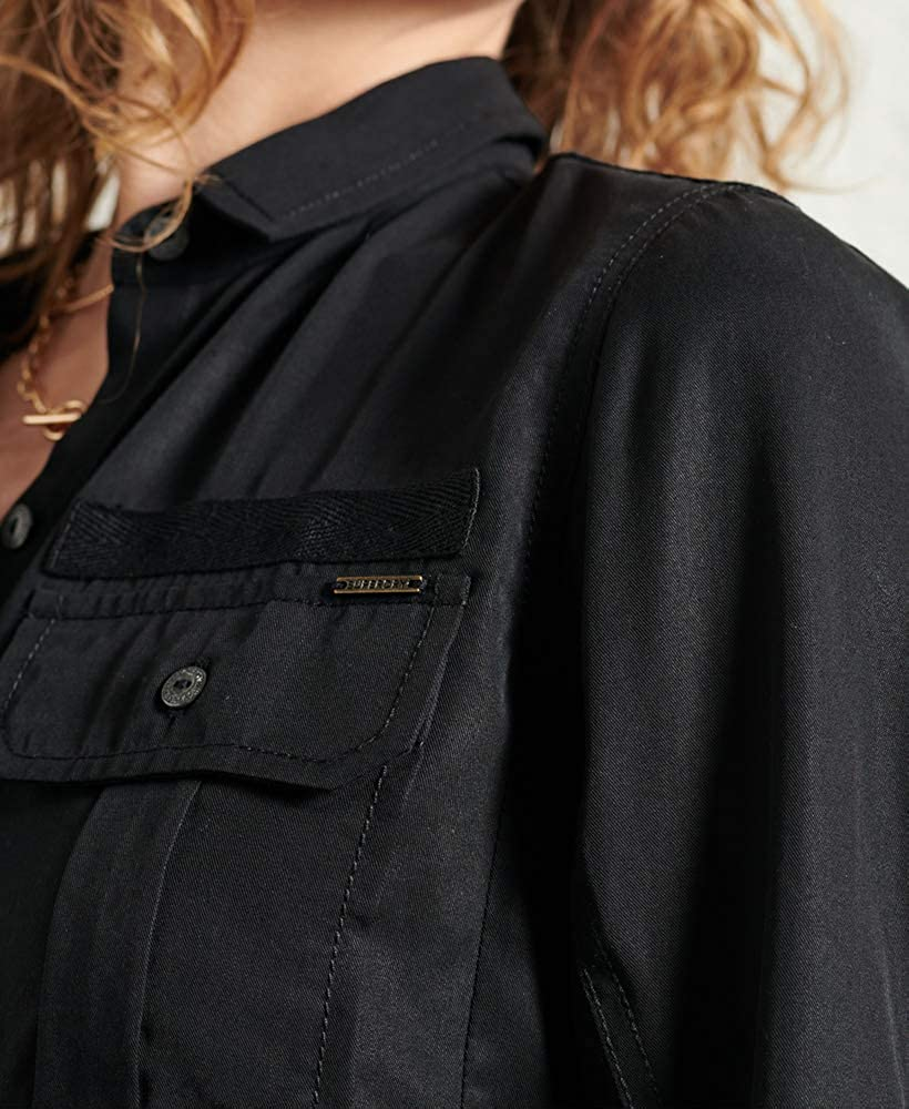 Superdry Mujer Camisa Militar con Bolsillo