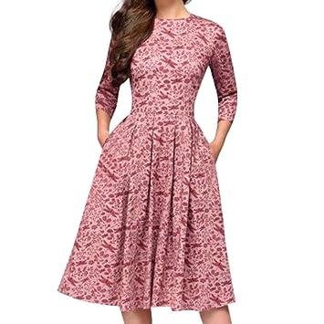 9a1efd7f0c3 Bluestercool Femmes Cocktail Robes Bohème à Manches 3 4 Floral Imprimé Col  Rond Robe de