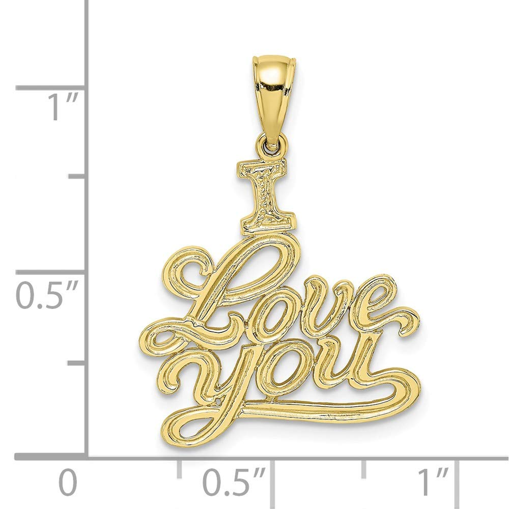 Jewels By Lux 10K Yellow Gold Textured I Love You Pendant