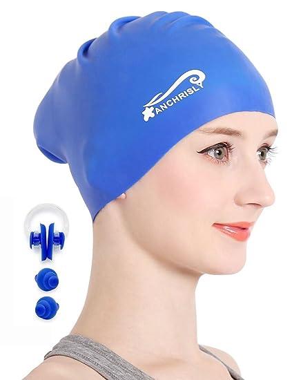 70ba783b4f9 Amazon.com   Silicone Long Hair Swimming Cap