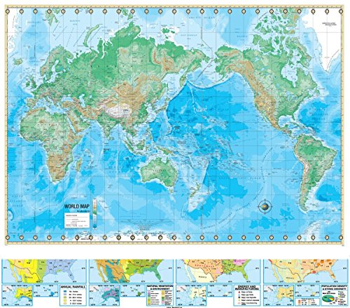Gifts Delight Laminated 26x24 Poster: Physical Map - Advanced U.S. World Physical Classroom Map Combination on Spring Roller