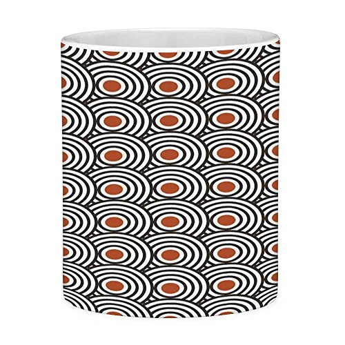 Funny Coffee Mug with Quote Modern Art 11 Ounces Funny Coffee Mug New Age Retro Minimalist Concentric Spiral Vortex Abstract Work of Art Decorative Orange Charcoal Grey