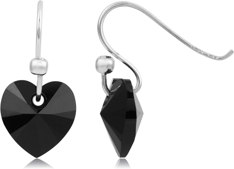 Córdoba Jewels | Pendientes en plata de ley 925 con cristales by Swarovski con diseño Corazón Swarovski Onix Silver