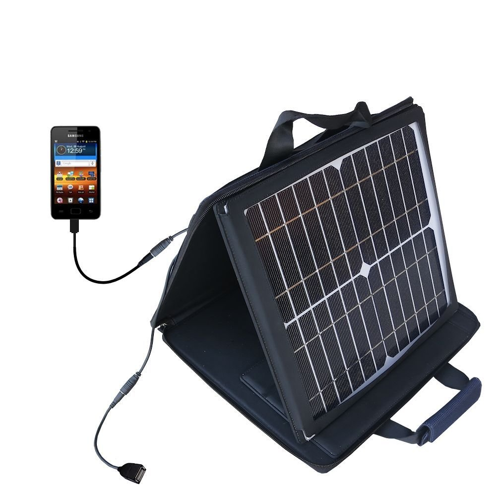 Gomadic SunVolt High Output Portable Solar Power Station designed for the Samsung Galaxy Player 3.6 / 4 / 4.2 / 5 inch screens - Can charge multiple devices with outlet speeds by Gomadic