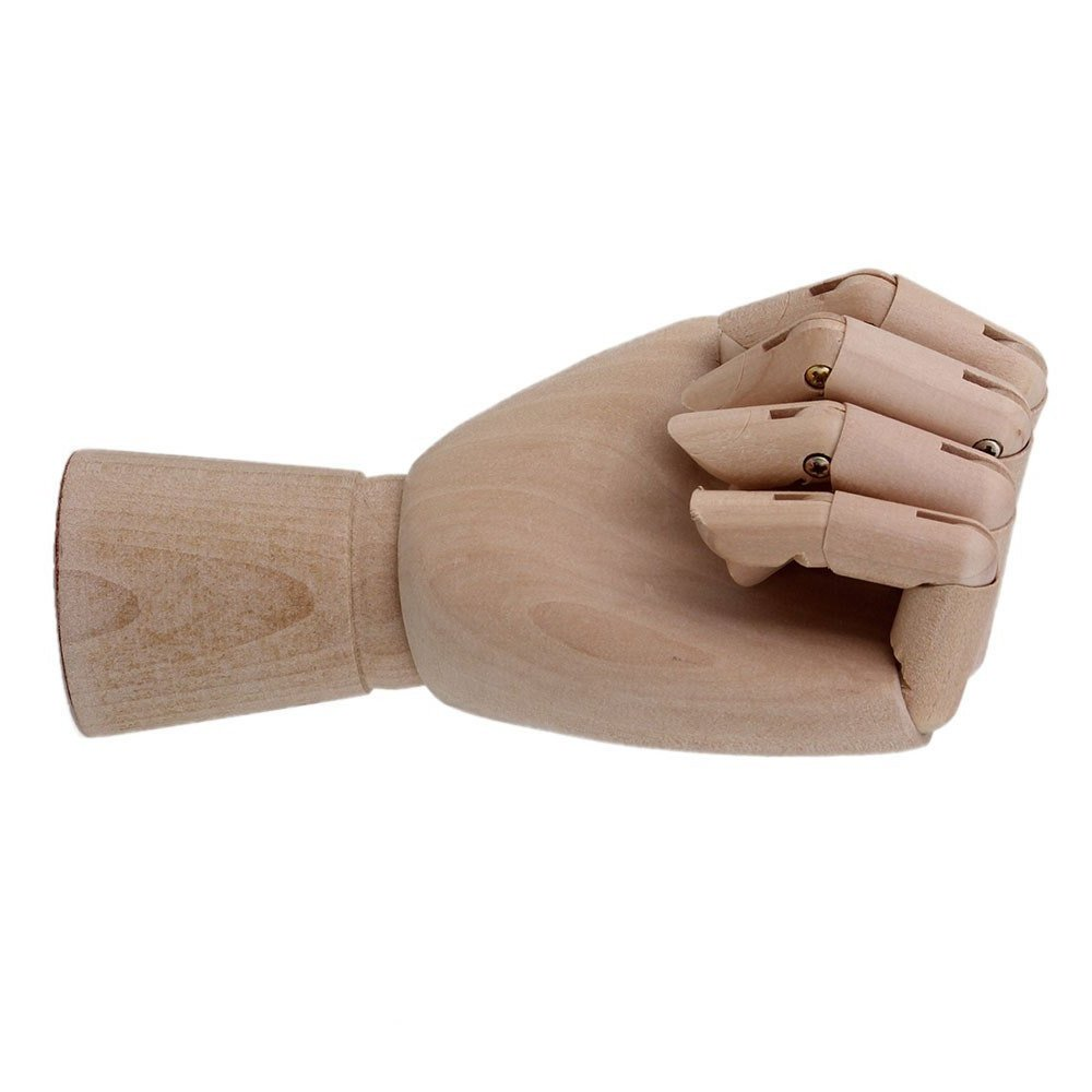 10 inch Left Hand Manikin Wooden Articulated Mannequin Moveable Fingers Crafts Painting Art Supply Sketch Model