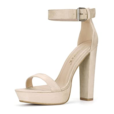 54420b418f9 Allegra K Women s Chunky Heel Ankle Strap Platform Sandals (Size US 6) Beige