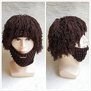 d2c31405a93 LUOEM Wig Beard Hats Knit Beard Mask Warm Winter Caps Funny Mask Beanie  Christmas Gift for Men Women (Brown)  Amazon.in  Clothing   Accessories