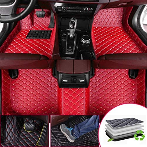 Custom Car Floor Mats for S4 2018 Full Surrounded Waterproof Anti-Slip All Weather Protection Leather Material Car mat Carpet Liners Red