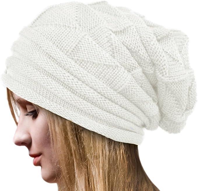 Crochet Invierno Gorro Punto Caliente Cozy Mujeres Grande Sombrero ...