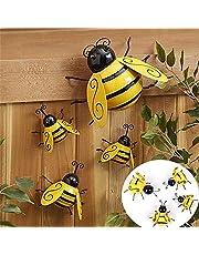 Garden Metal Wall Art Decorative Set of 4 Bumble Bee, Indoor and Outdoor Wall Sculptures